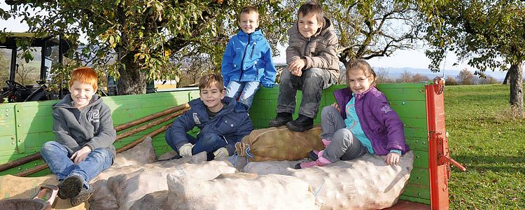 Kinder bei der Ernte in Haslach